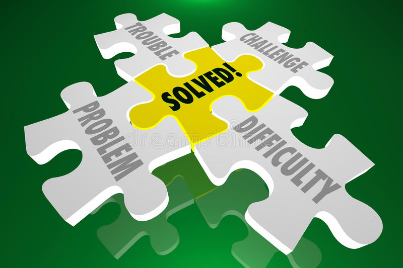 Solved Solution Challenge Difficulty Puzzle. Solved Solution Trouble Problem Challenge Difficulty Puzzle royalty free illustration