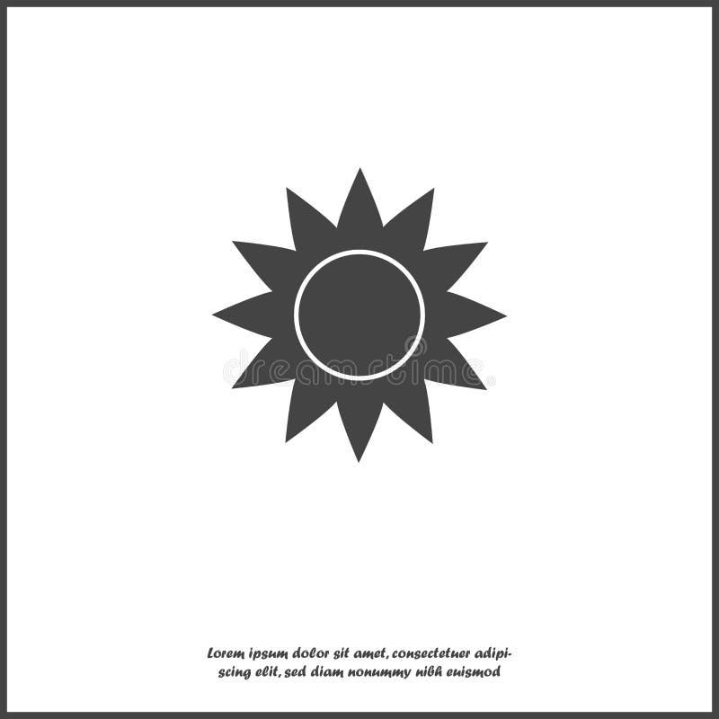 Solvektorsymbol Ett symbol av himlen, bra v?der p? vit isolerad bakgrund royaltyfri illustrationer