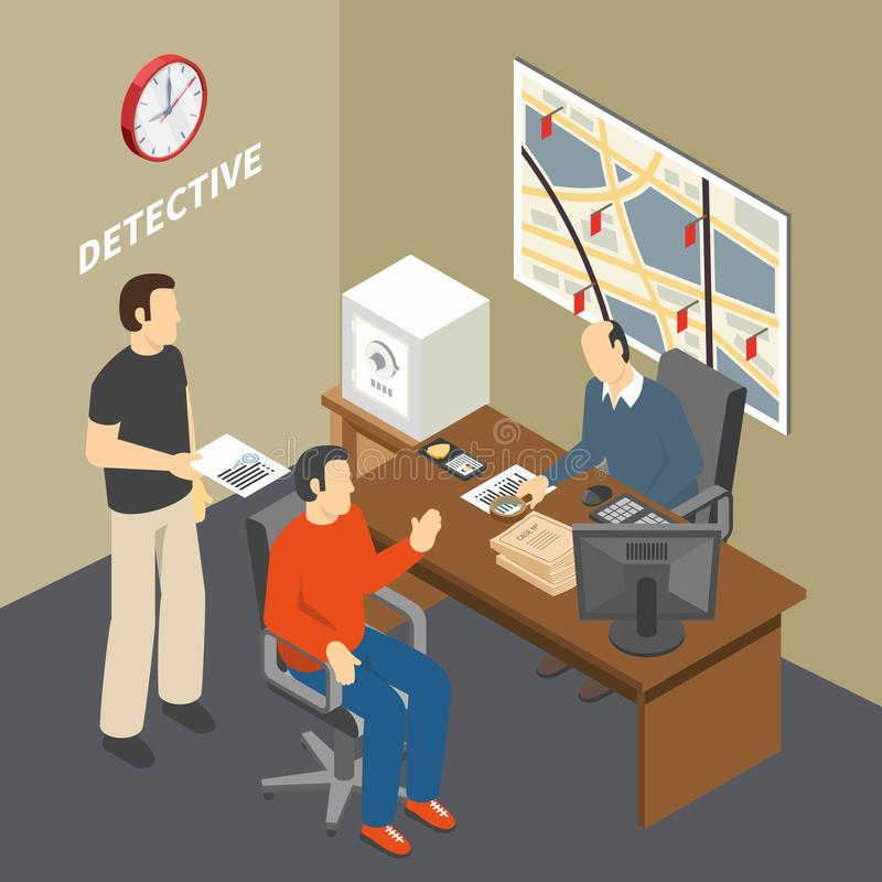 Law Justice Isometric Composition. Solving crime investigator collecting information talking to witness in law enforcement agency detectives office isometric royalty free illustration