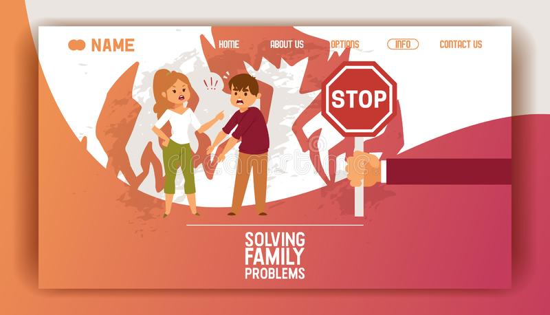 Solving family vector landing page people man woman in family conflict boy girl. Relationship problem with unhappy royalty free illustration