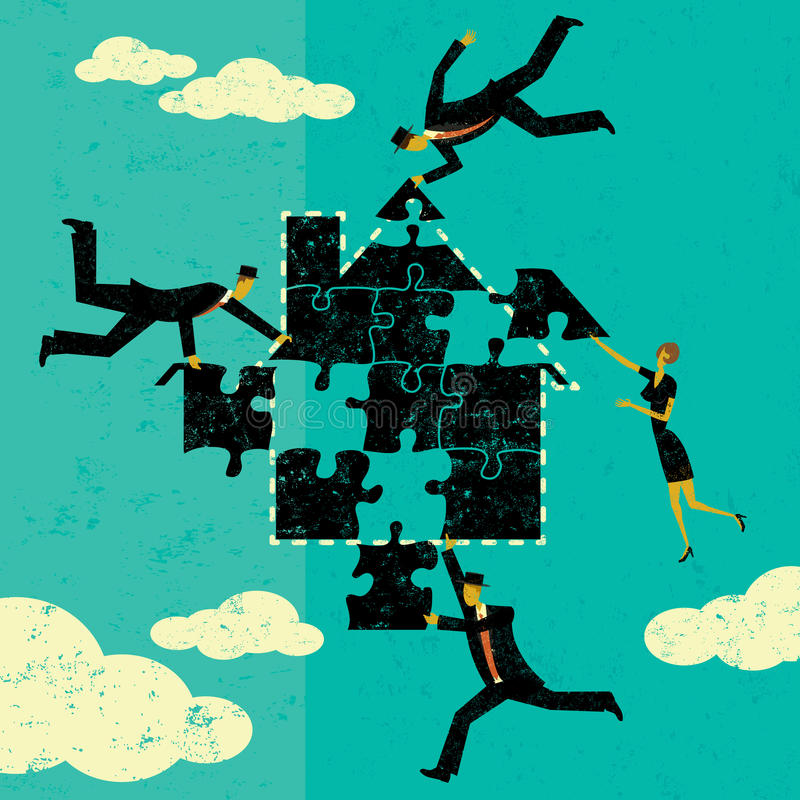 Solving Home Mortgage Problems. Business people putting the puzzle pieces together to find a solution to home mortgage problems. The people and house is on a stock illustration