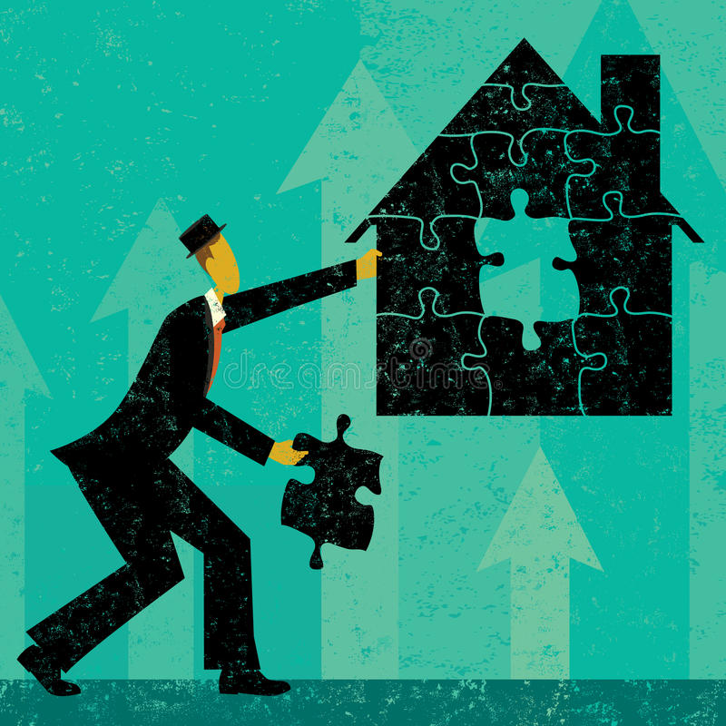 Solving Home Mortgage Problems. Businessman putting the puzzle pieces together to find a solution to home mortgage problems. The man and house is on a separate royalty free illustration