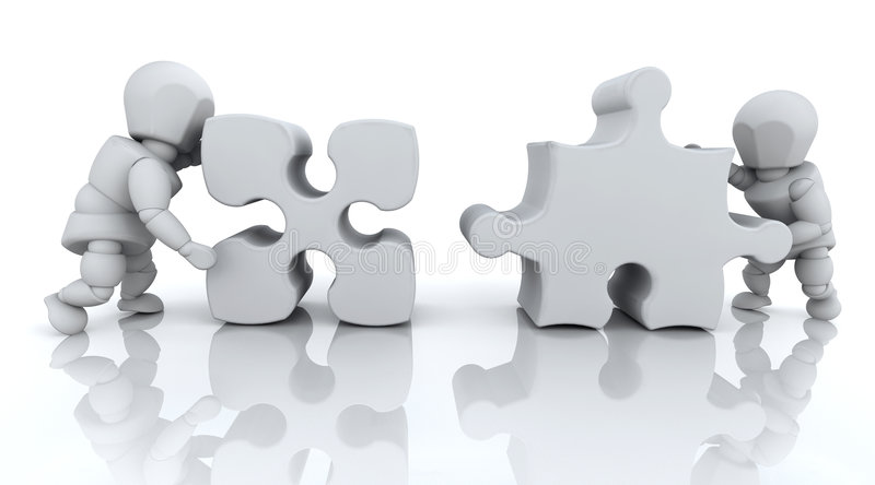 SOLVING JIGSAW PUZZLE Royalty Free Stock Photo