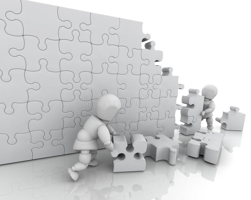 Download Solving jigsaw puzzle stock illustration. Image of metaphor - 9670467