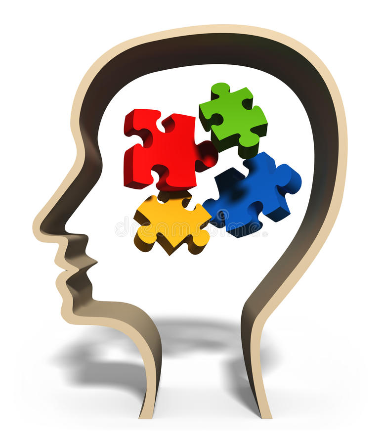 Solving problems. Head with jigsaw puzzle pieces in brain concept for problem solving, solution, problems or puzzled mind stock illustration