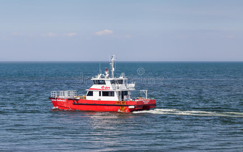 Solway Challenger. Is a boat used to service the Robin Rigg wind farm offshore from Workington, North West England stock photos