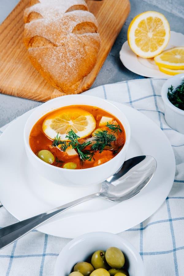 Solyanka en tjock soppa av grönsaker och kött som tjänas som med citronen och oliv arkivfoto