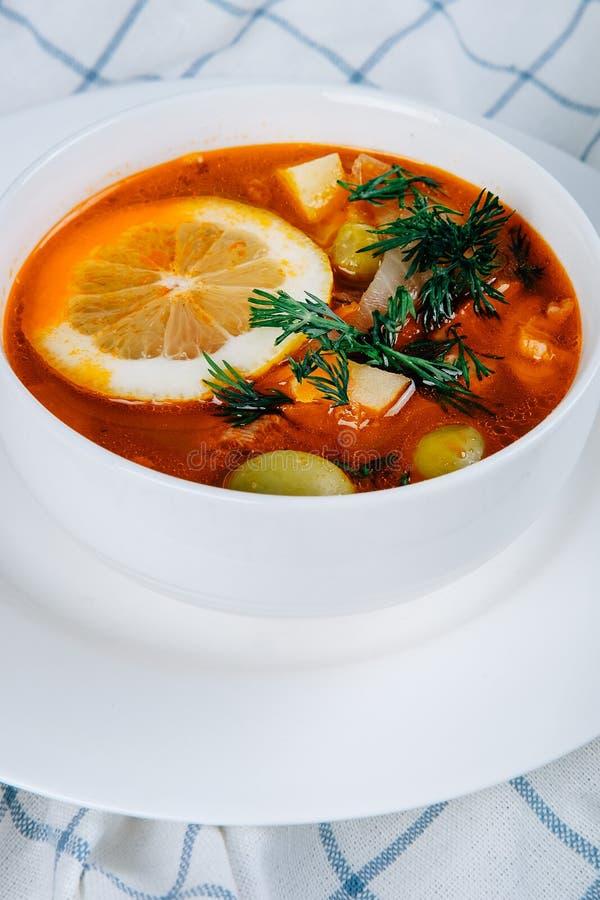 Solyanka en tjock soppa av grönsaker och kött som tjänas som med citronen och oliv arkivbild