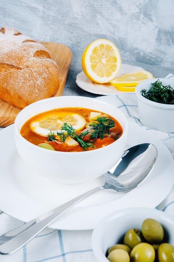 Solyanka en tjock soppa av grönsaker och kött som tjänas som med citronen och oliv arkivbilder