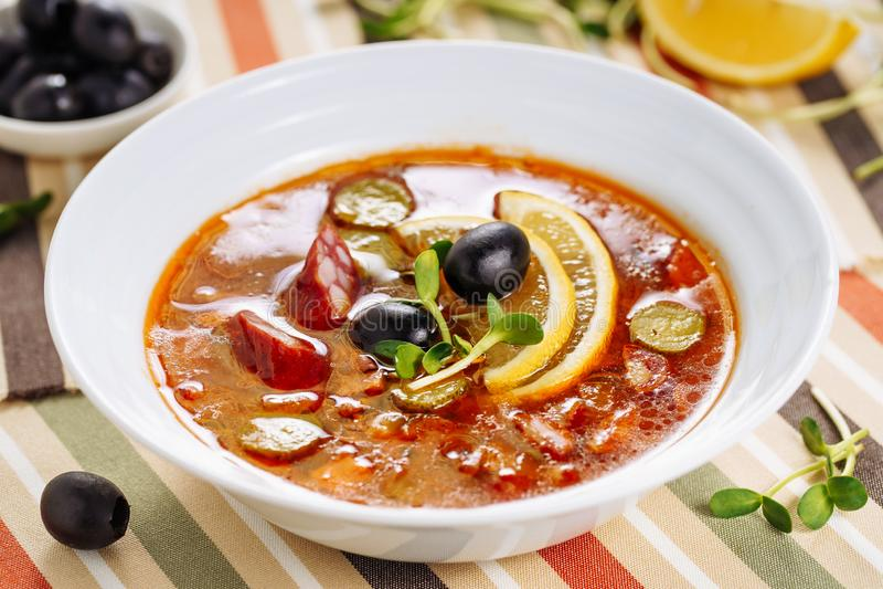 Solyanka Russian Sausage Soup Dish Side View royalty free stock photography