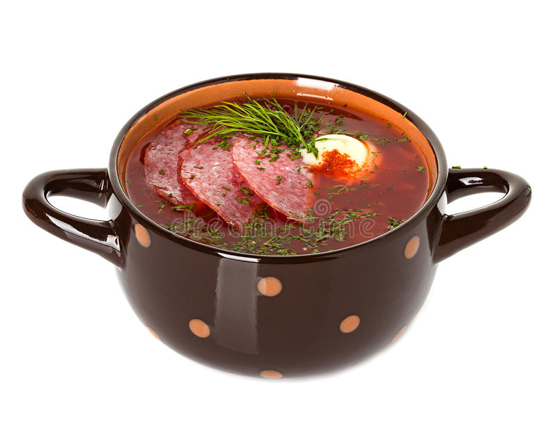 Solyanka, Russian soup and sour cream. Isolated stock image