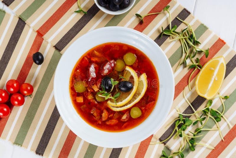 Solyanka Russian Traditional Soup Dish Flat Lay royalty free stock photo