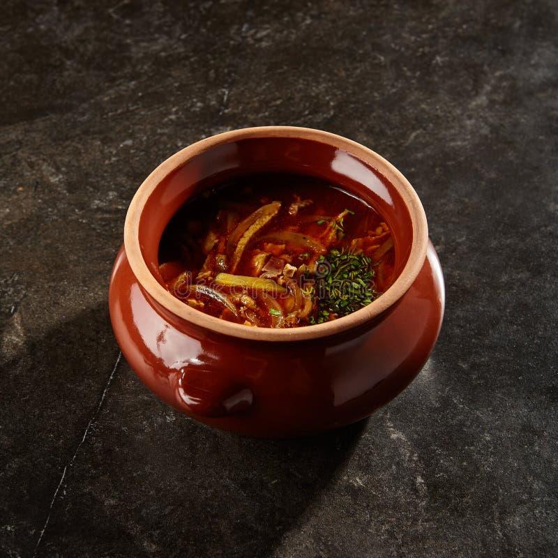 Solyanka soup close up stock images