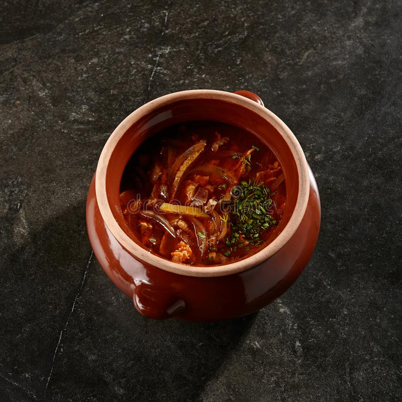 Solyanka soup side view royalty free stock images