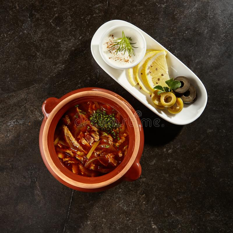 Solyanka soup top view stock photography