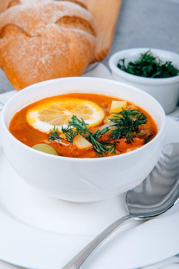 Solyanka uma sopa grossa dos vegetais e da carne servidos com limão e azeitonas imagem de stock royalty free