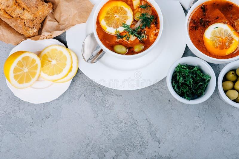 Solyanka una minestra spessa delle verdure e della carne servite con il limone e le olive immagine stock