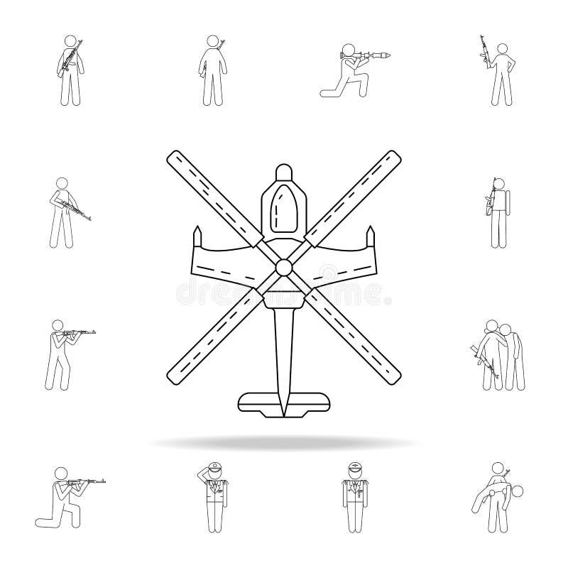 som är kan planlägga den använda logotypen för logoen för elementhelikoptersymbolen Universell uppsättning för armésymboler för r royaltyfri illustrationer