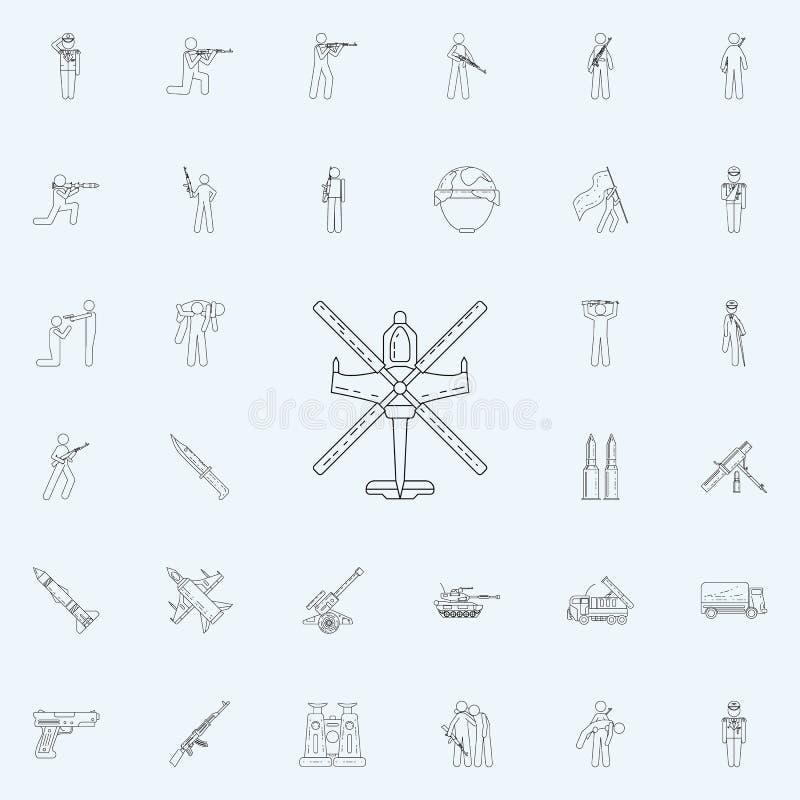 som är kan planlägga den använda logotypen för logoen för elementhelikoptersymbolen Universell uppsättning för armésymboler för r vektor illustrationer