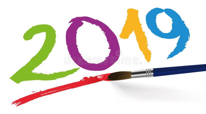 2019 som är skriftlig i flera färger med en borste vektor illustrationer