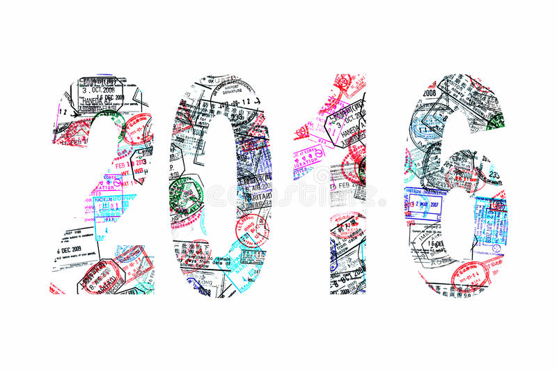 2016 som är skriftlig med passstämplar på vit vektor illustrationer