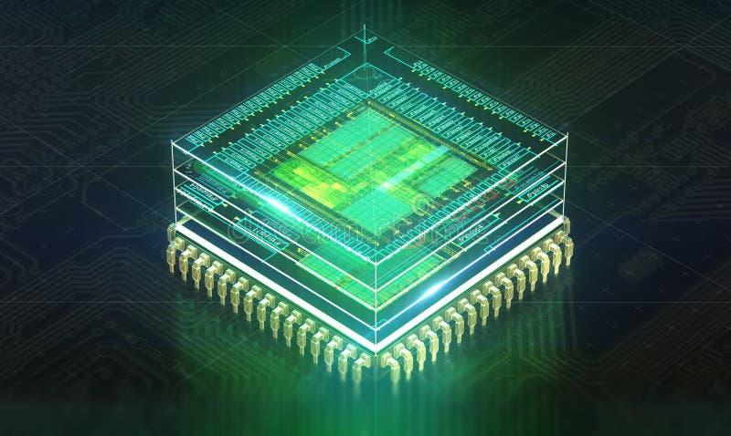 som bakgrundsbrädet kan circuit bruk Maskinvaruteknologi för elektronisk dator Digital chip för moderkort Bakgrund för Techvetens royaltyfri illustrationer