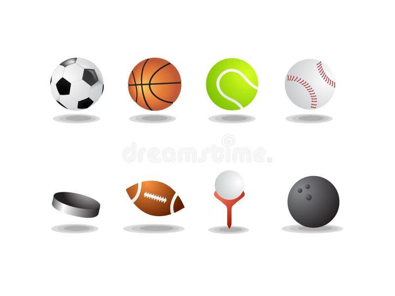 som bollar isolerade symboler sporten royaltyfri illustrationer