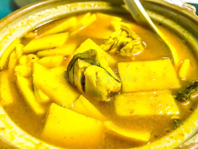 Som del gruppo, minestra gialla del curry con il germoglio di bambù ed il mare Bass Fish, minestra acida fatta della pasta o dell fotografia stock libera da diritti