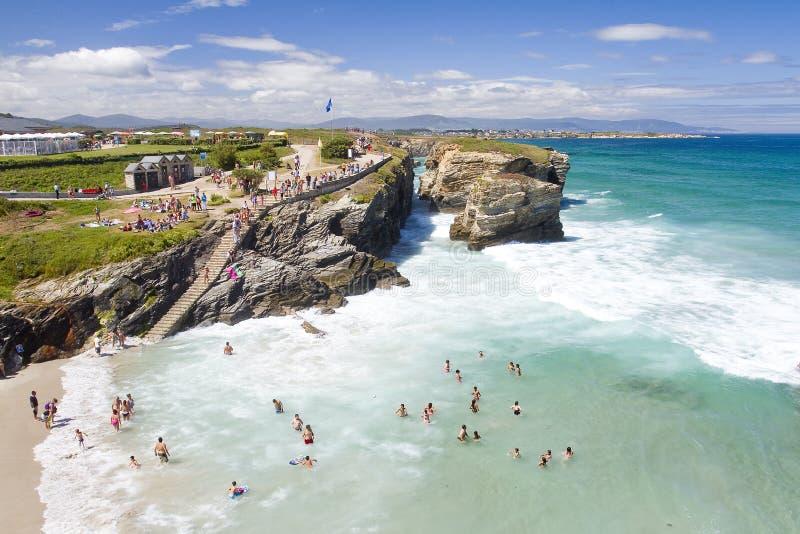 Som den Catedrais stranden Spanien royaltyfri fotografi