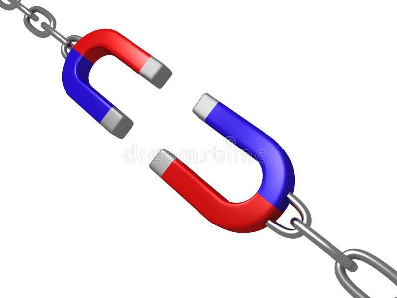 som den chain hästskosammanlänkningsmagneten stock illustrationer