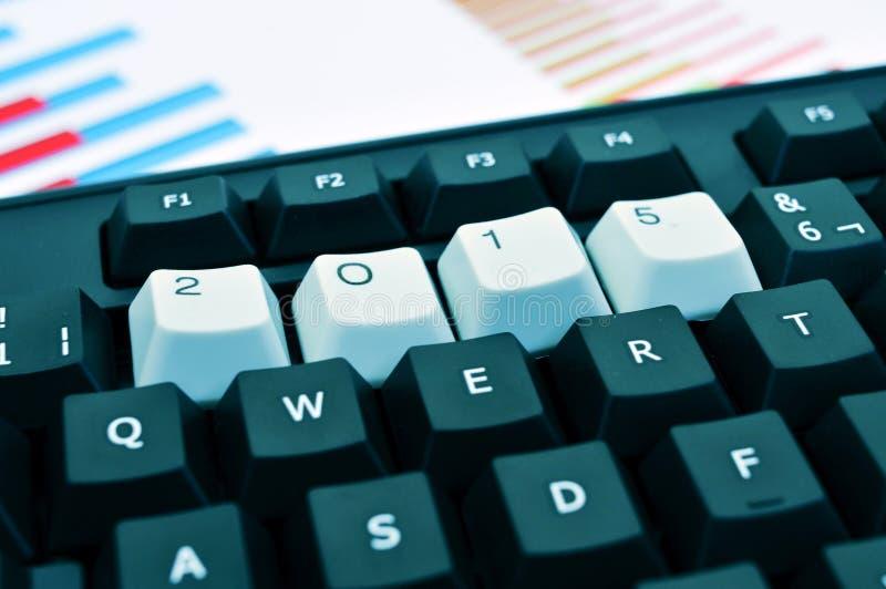 2015 som det nya året, i ett tangentbord arkivbild