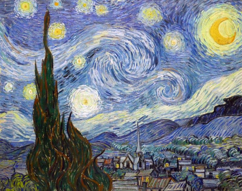 ` Som `en för den stjärnklara natten målade vid Vincent Van Gogh arkivfoton