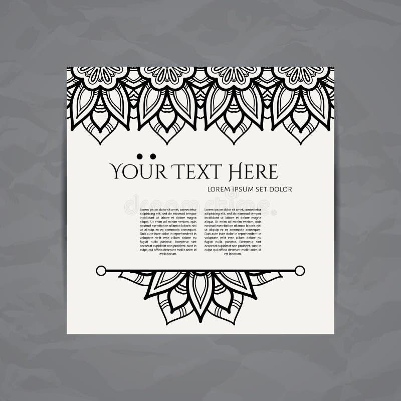 som för delstiker för design den trevliga mallen som använder den din vektorn Affärskort med den blom- cirkelprydnaden Mandalasti royaltyfri illustrationer