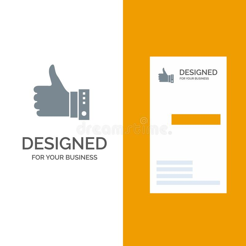 Som, finger, gest, hand, tummar, upp, ja Grey Logo Design och mall för affärskort stock illustrationer