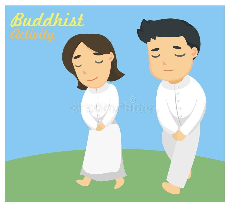 ` Som går meditation` en av den buddistiska aktiviteten royaltyfri illustrationer