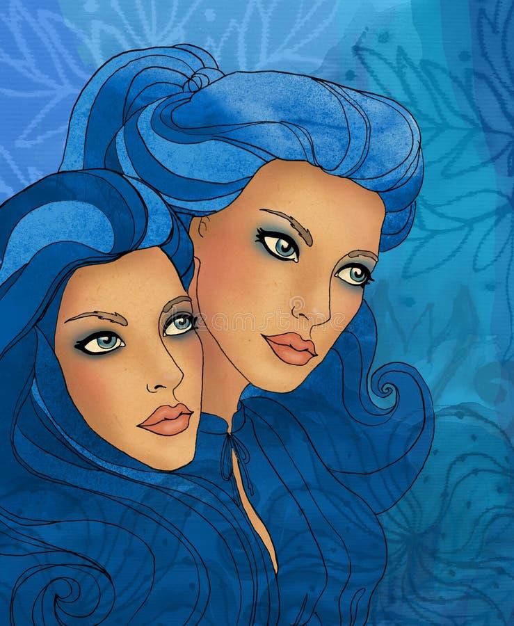 som härlig zodiac för gemeniflickatecken stock illustrationer