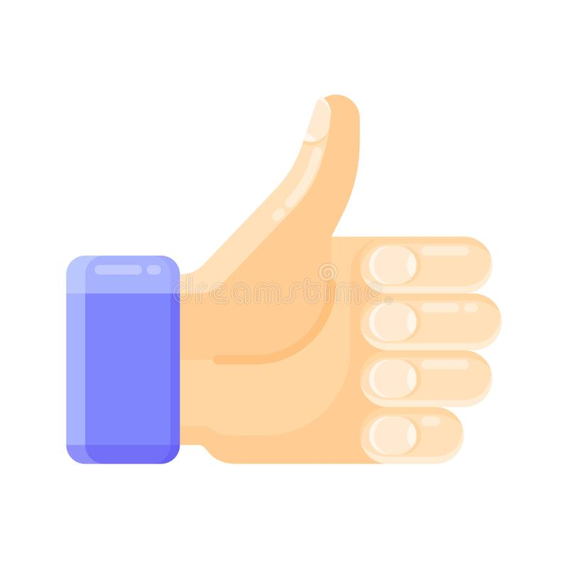 A som knappen för social nätverkandeservice, internetfora, nyheternawebsites och bloggar Symbol av tummar upp handgest royaltyfri illustrationer