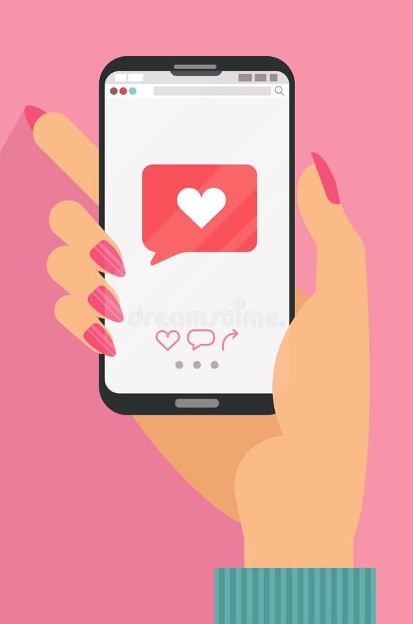 Som mobilt mobilt begrepp Kvinnlig handinnehavsmartphone med hjärtaemojimeddelandet på skärmen, som knappen F?r?lskelsebikt, gill royaltyfri illustrationer