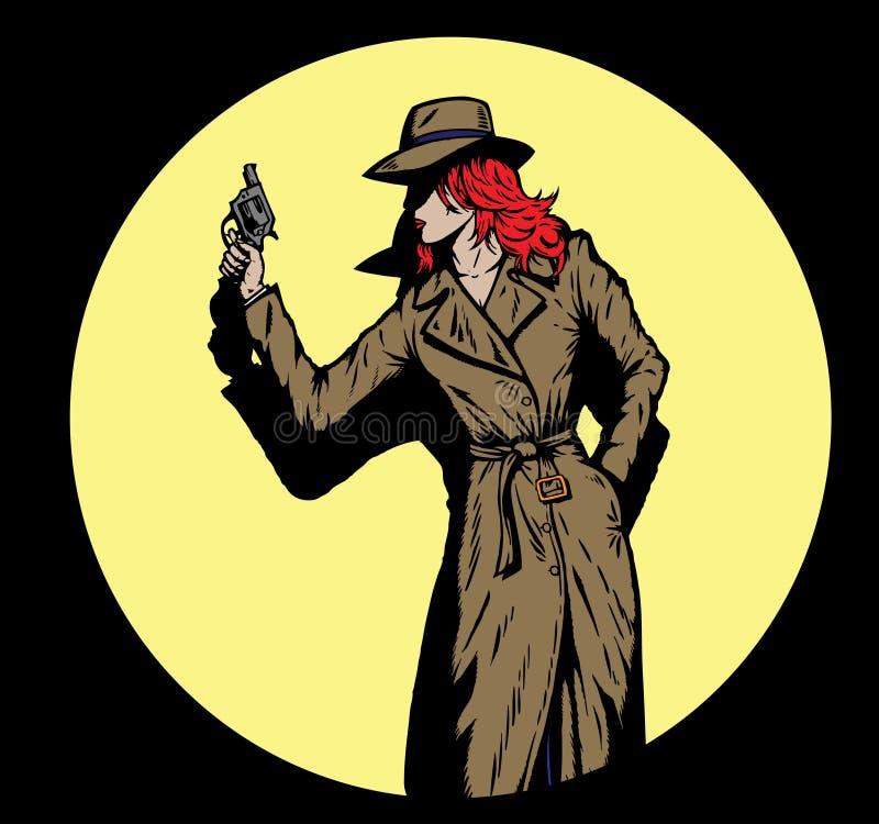 som sådan gammal stil för detektiv- femtiotalflicka stock illustrationer