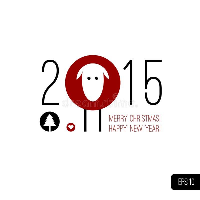 2015 som skriver med symbol av det kinesiska horoskopet - royaltyfri illustrationer