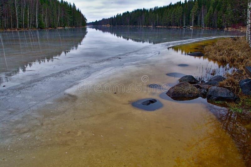 Is som smälter på sjön royaltyfria bilder