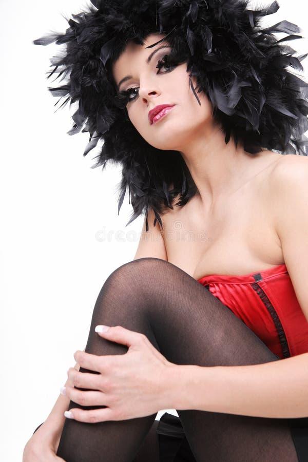 som svart, befjädrar mode hårmodellen fotografering för bildbyråer