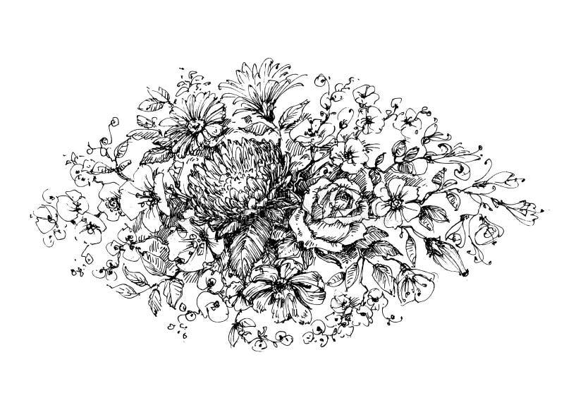 som tappning för blom- prydnad för bakgrund praktisk royaltyfri illustrationer