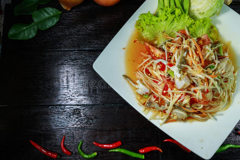 Som tum thai. Thailand food called `Som tum thai stock image