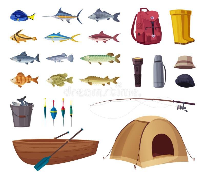 som vishet för utrustningfiskefolk inställda symboler den främmande tecknad filmkatten flyr illustrationtakvektorn vektor illustrationer