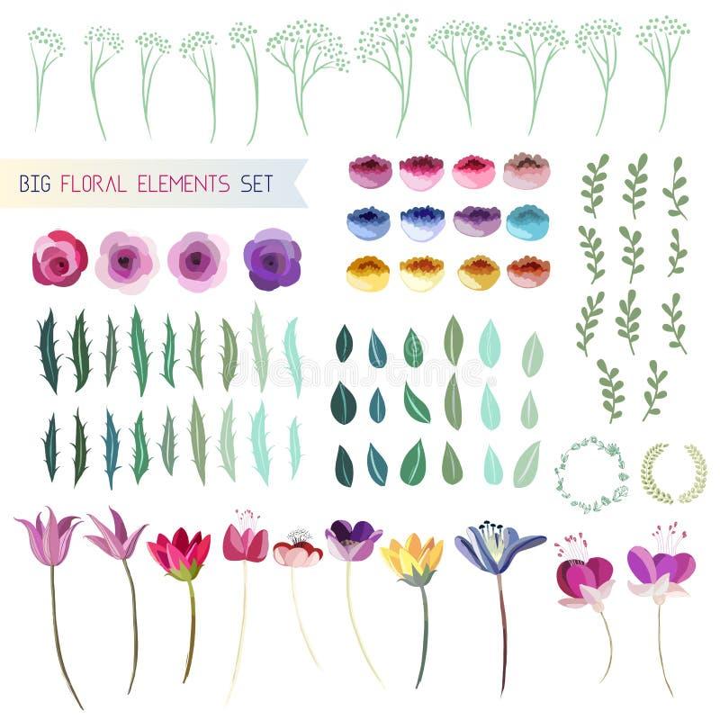 som wish för blom- scroll för färgdesignelement vectorized dig stock illustrationer