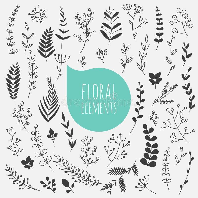 som wish för blom- scroll för färgdesignelement vectorized dig Samlingen av våren blommar, sidor, maskros stock illustrationer