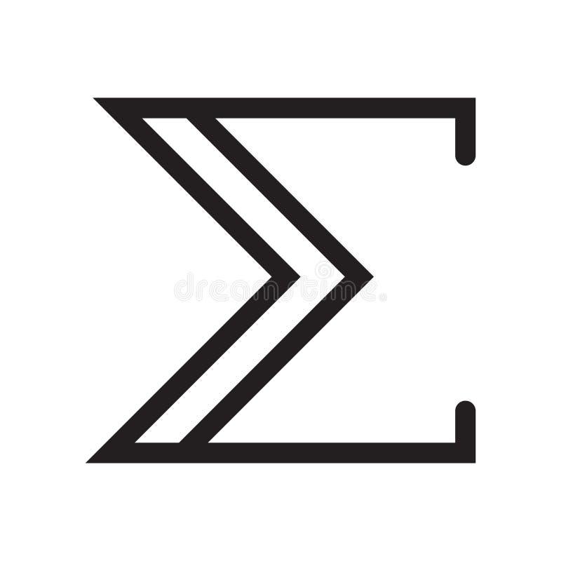 A soma do sinal do vetor do ícone do símbolo e símbolo isolado no fundo branco, a soma do conceito do logotipo do símbolo ilustração stock