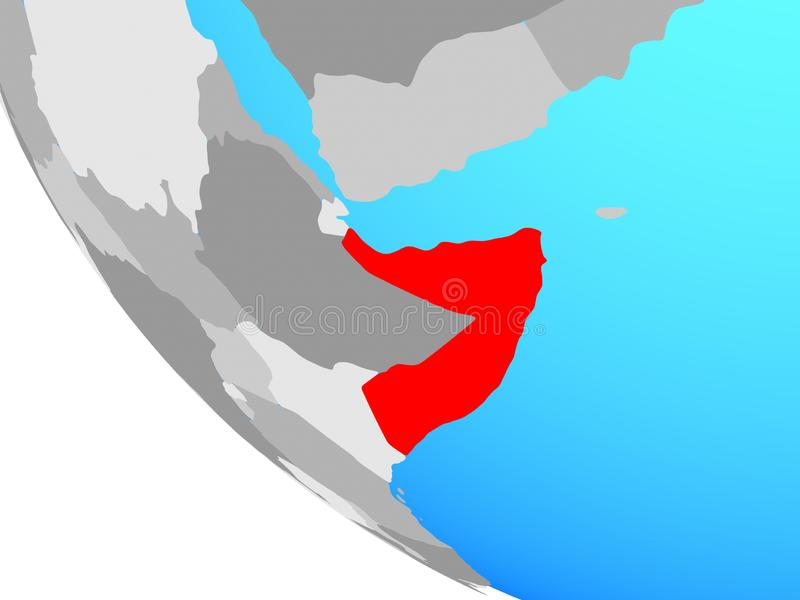 Somalië op bol royalty-vrije illustratie