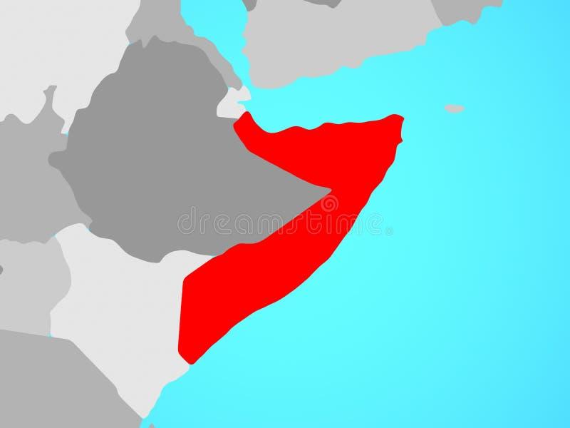 Somalië op kaart stock illustratie